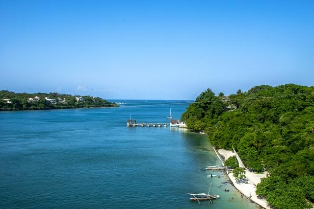 Open blue sea from a bridge